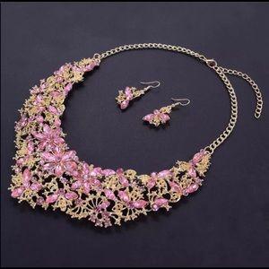 Statement Rhinestone Crystal Necklace Earrings Set